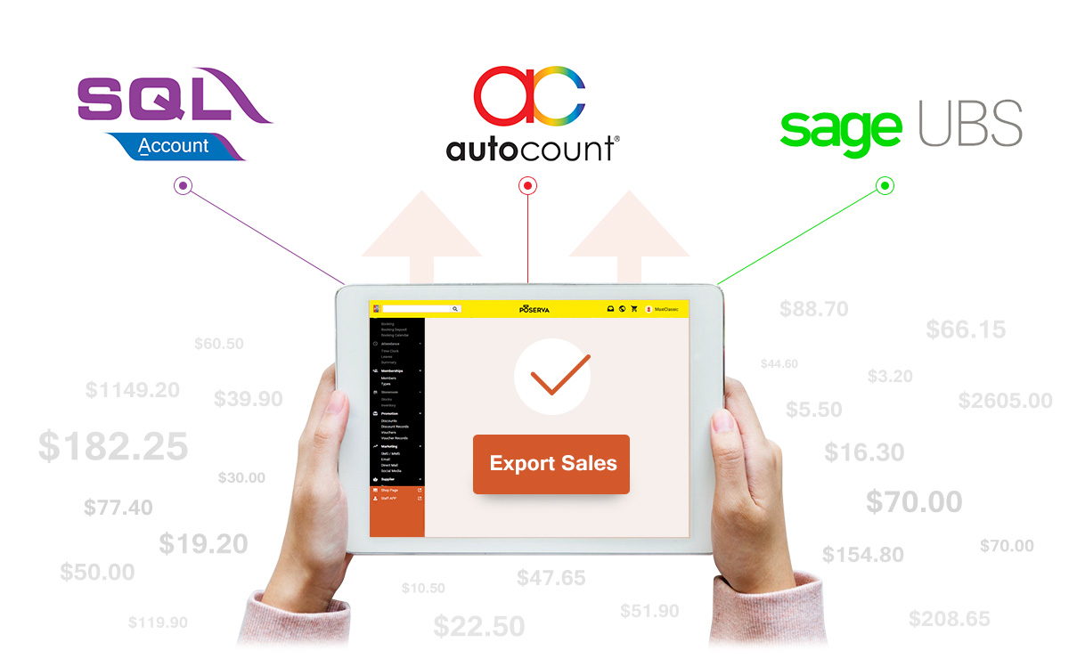 One click export your daily sales data to accounting software instantly. Supports Autocount, SQL Accounting and Sage UBS!