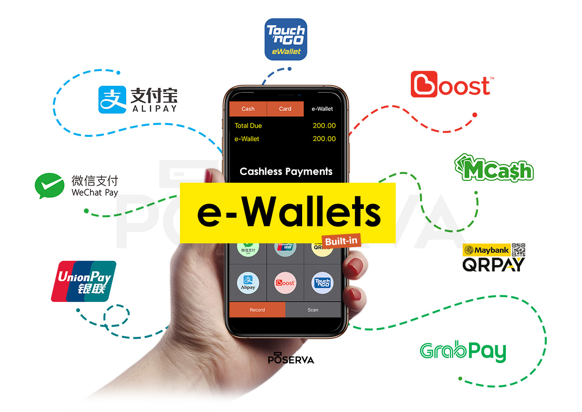e-Wallet accepted for your customers, instant payment made convenient! Accept Alipay, WeChat Pay, Boost, UnionPay, GrabPay, Maybank QRPAY, MCash